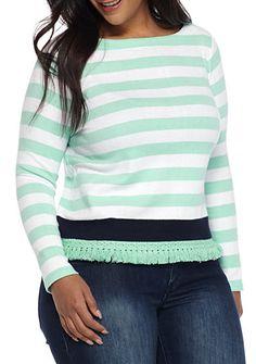 Crown & Ivy™ Plus Size Stripe Sweatshirt