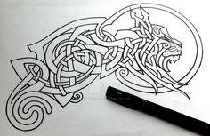 Celtic Lynx linework by Tattoo-Design