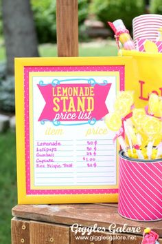 10 Tips for a Successful Lemonade Stand - Giggles Galore Lemonade Stand Sign, Kids Lemonade Stands, Food Cart Design, Kids Play Spaces, Craft Booth Displays, Pink Lemonade, Bake Sale, Ms Gs, Summer Kids