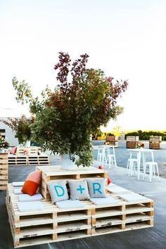 outdoor palette reception lounge seating - brides of adelaide Shed Wedding, Wedding Lounge, Wedding Seating, Wedding Ideas, Wedding Simple, Pallet Seating, Lounge Seating, Lounge Areas, Pallet Garden Furniture
