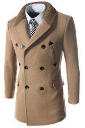 Knitted Lapel PU Leather Spliced Multi-Button Slimming Long Sleeves Woolen Blend Thicken Peacoat For Men (LIGHT CAMEL,M) | Sammydress.com Mobile