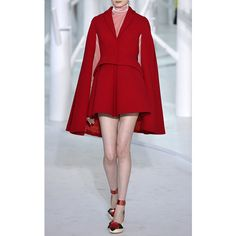 DELPOZO Double Faced Wool Crepe Jacket (3,765 CAD) ❤ liked on Polyvore featuring outerwear, jackets, red wool jacket, wool cape coat, fitted jacket, red peplum jacket and red cropped jacket
