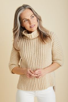 Simply Constructed Pullover (Crochet) - Free Crochet Pattern With Website Registration - (lionbrand)