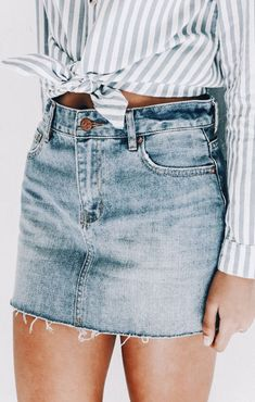Jean Skirt, Tied Shirt