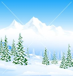 Winter landscape vector 2955117 - by SamiVector on VectorStock®