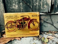 Excited to share the latest addition to my #etsy shop: Vintage Indian Powerplus from 1916 Motorcycle Wooden Picture Home Decor Wall Art Garage Decor