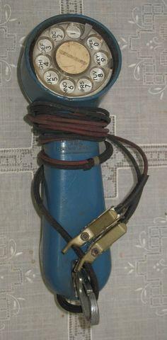 Vintage Blue Western Electric Linemans Handset Buttinski Bell System with Wires