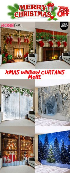 Free shipping over $45, up to 75% off, Rosegal Window curtains for Christmas Holiday home decor ideas Snow print window curtain | #rosegal #homedecor #Christmas