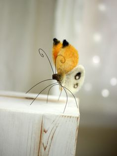 Needle Felted Butterfly  Needle Felt Yellow by FeltArtByMariana