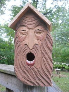 OOAK Wizard birdhouse, wood spirit carvings 2 nests bird house, wood carvings