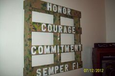 Pallet painted camo with lettering. Art work with Military words; Honor, Courage, Commitment, Semper Fi - for Military theme teen boy room