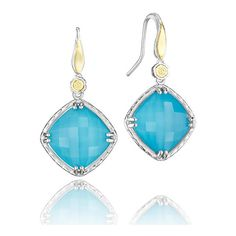 Tacori 18K925 Barbados Blue Collection Sterling Silver and Turquoise... ($480) ❤ liked on Polyvore featuring jewelry, earrings, engraved jewelry, cushion cut earrings, blue turquoise jewelry, turquoise dangle earrings and blue turquoise earrings