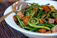 Fat of the Land: Sichuan Pickled Fiddleheads with Ground Pork