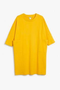 Monki Image 2 of Sweatshirt dress  in Yellow Reddish