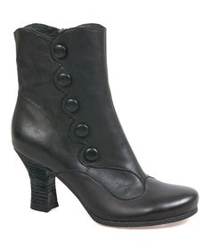 Look at this Black Kitty Leather Ankle Boot on #zulily today!