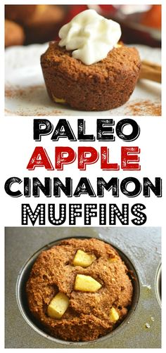 Warm Paleo Apple Cinnamon Muffins bursting with natural sweetness! Made with almond flour, these muffins are thick, hearty & make the perfect single-serve dessert or snack!Gluten Free + Low Calorie + Paleo