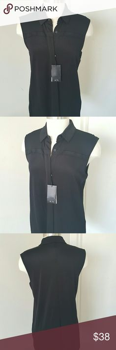 "NWT Black Sleeveless Top NWT Black Sleeveless Top, buttons down, silky texture, perfect for any outfit.  Unlined , 94% viscose and 6% elastin measurements are length 28"" bust 36"" hip 38"" hidden front buttons. Armani Exchange Tops Button Down Shirts"