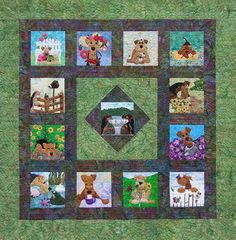 Garden Party - 2012 ADT Rescue Quilt.  Adorable!  Donate at www.airedalerescue.net/2012quilt/#