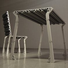 Korean designer HwaSung Yoo of Mars has designed a table and chair made of extruded aluminium with a cross-section inspired by frost patterns. Plates of extruded material in various lengths and widths can be attached to make table to. Modular Furniture, Bespoke Furniture, Cheap Furniture, Table Furniture, Furniture Design, Extruded Aluminum, Elements Of Design, Modular Design, Chair Design