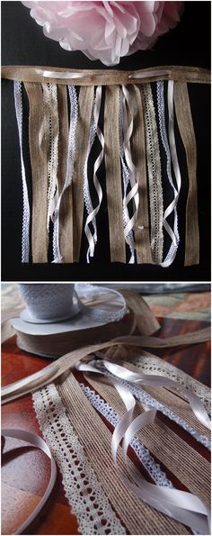 lace and burlap ribbon garland. Burlap Lace, Burlap Ribbon, Lace Ribbon, Wholesale Ribbon, Ribbon Garland, Rustic Wedding Favors, Table Covers, Party Favors, Table Clothes