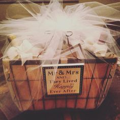 Wine basket wedding gift for the bride and groom!