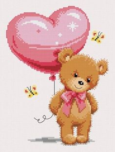 Teddy with balloon (Free Chart) Baby Cross Stitch Patterns, Cross Stitch Heart, Cross Stitch Designs, Cross Stitching, Cross Stitch Embroidery, Embroidery Patterns, Hand Embroidery, Crochet Animals, Balloons