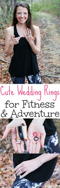 Love fitness, travel and adventure? Try this functional and fun silicone wedding alternative band idea for women & men. This ring is unusual, stackable, and comes in colors like black, blue, pink and grey.  Great for a couple who can't take their regular bands everywhere they go in life!  Beautiful and still great for the gym and outdoors! / Running in a Skirt