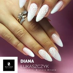 You are in the right place about wedding nails for bride Here we offer you the most beautiful pictures about the wedding nails for bride french tip you are looking for. Gel Nail Art, Acrylic Nails, Wedding Day Nails, Lace Nails, Lace Nail Art, Nagel Blog, Bride Nails, Oval Nails, Manicure E Pedicure