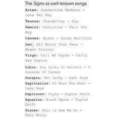 The signs as well known songs // #horoscope #horoscopes #aries #taurus #gemini #cancer #leo #virgo #libra #scorpio #sagittarius #capricorn #aquarius #pisces #zodiac #astrology