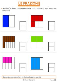 Spiegare le Frazioni ai Bambini con Esercizi Semplici   PianetaBambini.it Bar Chart, Classroom, Education, Meditation Retreat, Maths, Activities, Sons, Class Room, Training