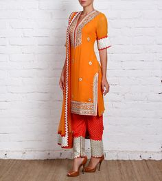 Churidar kurta dupatta in red and orange