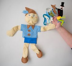 Pinocchio puppet story bag -5 finger puppets FELT -Geppeto , Turquoise fairy , Mr Cricket ,Fox and cat -Teaching resources