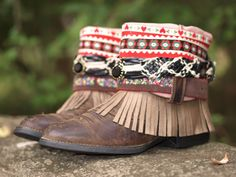 Tribal upcycled frangée cuir bottes REWORKED par TheLookFactory