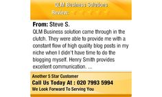 QLM Business solution came through in the clutch.  They were able to provide me with a...