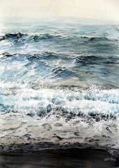 Watercolor landscape beach ocean water waves