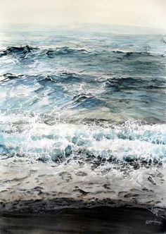 Watercolor landscape beach ocean water waves