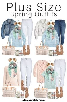 Plus Size Early Spring Outfit Ideas with White Jeans Blush Pink Cardigan Aqua Mint Tee Floral Scarf Tory Burch Sandals and Louis Vuitton Neverfull - Alexa Webb Early Spring Outfits, Summer Outfits, Spring Dresses, Plus Size Fashion For Women, Plus Size Women, Tory Burch Sandalen, Outfits Casual, Dress Outfits, Modelos Plus Size
