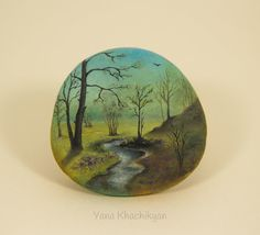 Autumn landscape Original oil painting on a stone. от KhachikYana