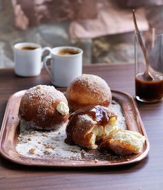 Cheesecake doughnuts with salted caramel - Gourmet Traveller
