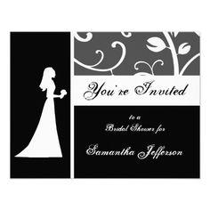 Bridal Shower, Black and White Vines Invitation