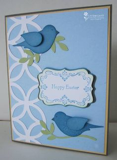 Stamps: Four Frames Paper: Bashful Blue, Marina Mist, Whisper White, Certainly Celery, Not Quite Navy Accessories: Two-step Bird Punch, Decorative label punch, Lattice die, Big Shot, sponge daubers, Dimensionals, markers
