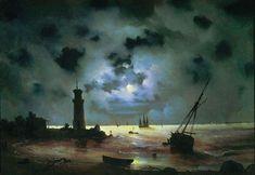 Берег моря ночью. У маяка. 1837 - Айвазовский Иван Константинович