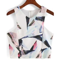 SheIn(sheinside) White V Neck Geometric Print Crop Tank Top
