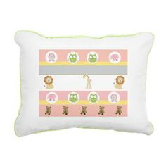 Petal Stripes Friends Rectangular Canvas Pillow - Cute design with zoo animals & teddy bears and soft petal pink, yellow and gray stripes - see more original & fun designs in our shop at www.cafepress.com/drapestudio and www.etsy.com/shop/drapestudio AND always a big Thank You for sharing our shops with your friends!