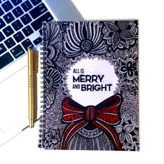 Christmas Notebook - Christmas Decor - Christmas Wreath - Quote - Merry and Bright - Tribal Art - Drawing - Typography - Black and White
