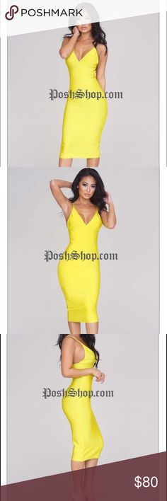 Posh Shop JULIAN BANDAGE DRESS - LEMON Sleek bandage dress! Thin straps that support a V-shaped neckline, and ending with a classy midi-length, this bodycon is cut to perfection. Never worn - has all tags on it Posh Shop Dresses Midi