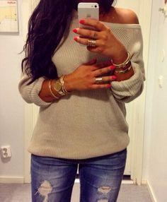Mirror sweater  #nails -  hair,  bracelet  #mirror