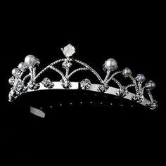 Flower Girl Headpiece, Girls Tiara, Wedding Flower Girl Dresses, Flower Girls, Flower Girl Hairstyles, Silver Pearls, Pink Pearls, Pearl Flower, Crystal Wedding