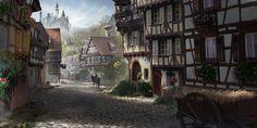 Village by Florent Llamas Fantasy Village, Fantasy City, Fantasy Places, High Fantasy, Fantasy World, Medieval World, Medieval Art, Medieval Fantasy, Magic Design