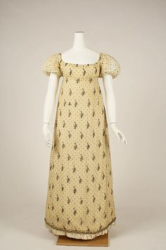 Printed cotton dress (front), French, 1805-1810.